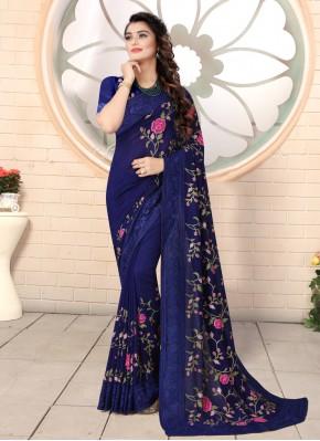Navy Blue Silk Trendy Saree