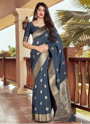 Navy Blue Silk Woven Traditional Designer Saree