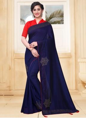 Navy Blue Stone Silk Classic Saree