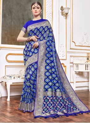 Navy Blue Weaving Traditional Designer Saree