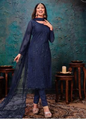 Net Churidar Designer Suit in Blue
