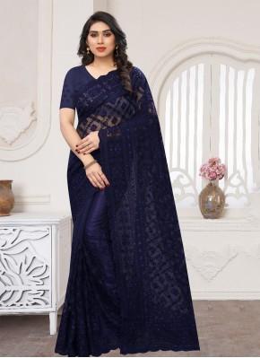 Net Classic Saree in Navy Blue