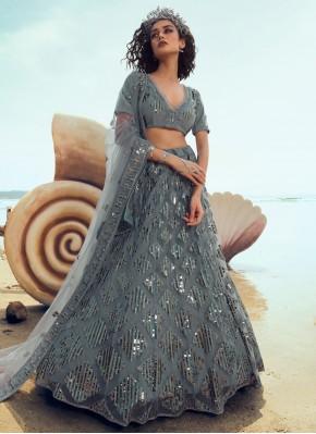Net Designer Lehenga Choli in Grey