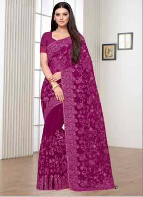 Net Embroidered Classic Saree in Purple