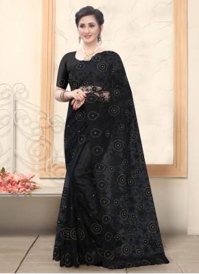 Net Embroidered Designer Saree in Black