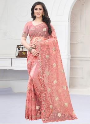 Net Embroidered Designer Saree in Pink