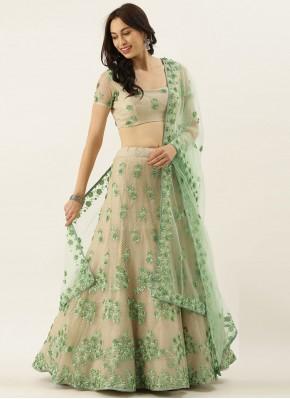 Net Embroidered Green Lehenga Choli