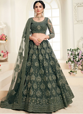 Net Embroidered Green Trendy A Line Lehenga Choli