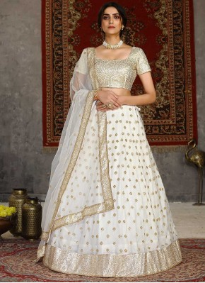 Net Embroidered Lehenga Choli in Off White