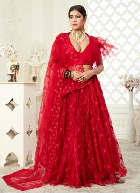 Net Embroidered Lehenga Choli in Red