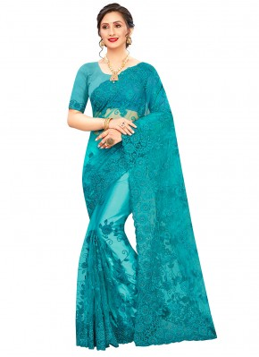 Net Embroidered Trendy Saree in Firozi