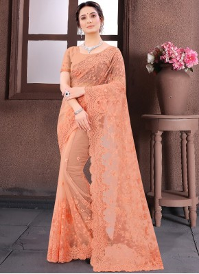 Net Embroidered Trendy Saree in Peach