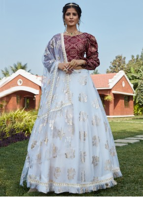 Net Fancy Lehenga Choli in Off White