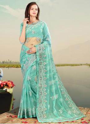 Net Firozi Resham Designer Saree