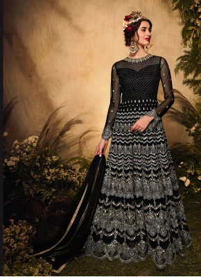 Net Floor Length Designer Suit in Black
