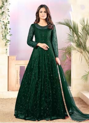 Net Green Thread Trendy Salwar Suit
