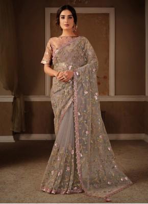 Net Grey and Pink Trendy Saree