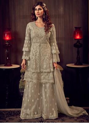 Net Grey Resham Designer Palazzo Salwar Suit