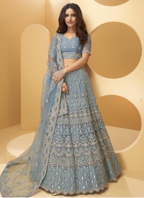 Net Lehenga Choli in Blue
