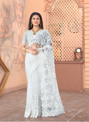 Net Off White Embroidered Designer Saree