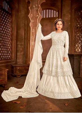 Net Off White Embroidered Long Choli Lehenga