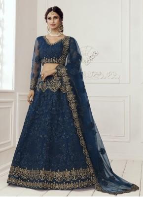 Net Patch Border Lehenga Choli in Blue