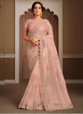 Net Patch Border Peach Classic Designer Saree