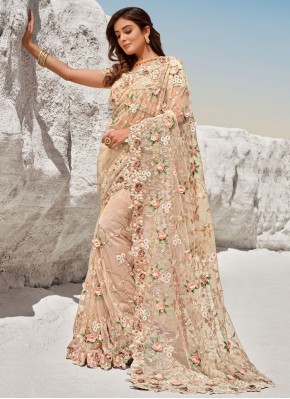 Net Peach Bollywood Saree