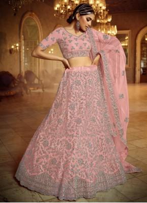 Net Pink Embroidered Lehenga Choli