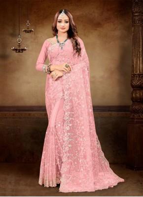 Net Pink Resham Classic Designer Saree