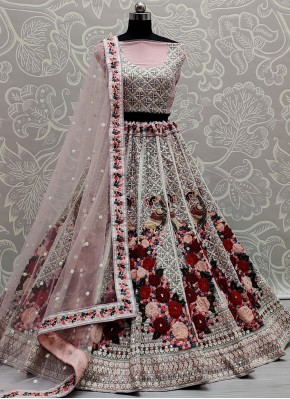 Net Pink Thread Work Lehenga Choli