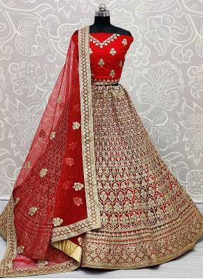 Net Red Lehenga Choli