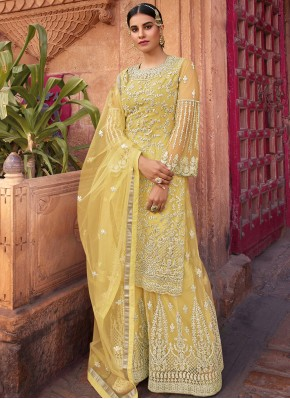 Net Resham Designer Pakistani Salwar Suit in Yellow