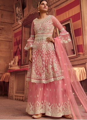 Net Resham Designer Pakistani Suit in Pink