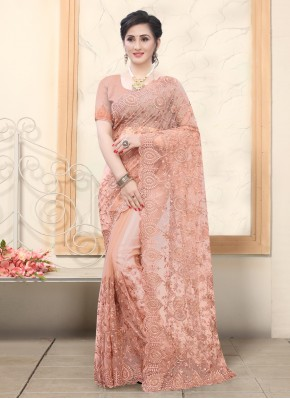 Net Resham Peach Designer Saree