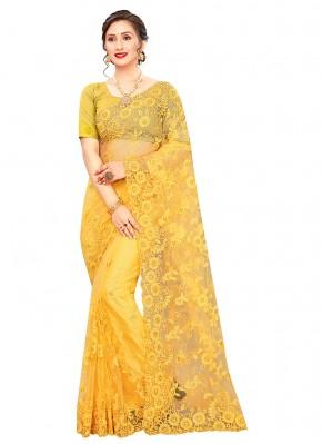 Net Resham Yellow Trendy Saree