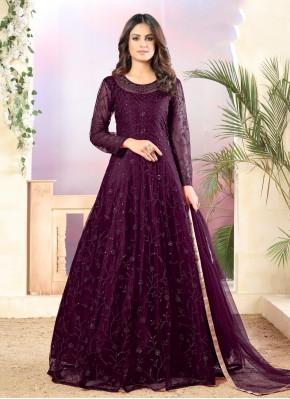 Net Salwar Suit in Purple