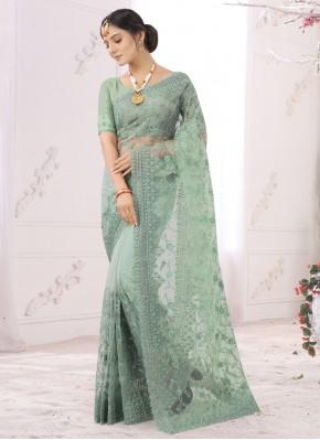 Net Sea Green Embroidered Designer Saree