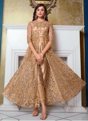 Net Sequins Floor Length Anarkali Suit in Beige