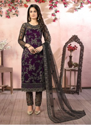 Net Sequins Pant Style Suit in Black and Purple