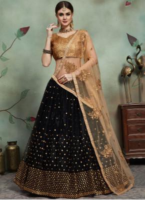 Net Trendy Lehenga Choli in Black