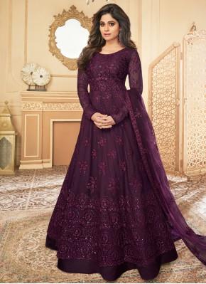 Net Violet Embroidered Anarkali Salwar Suit