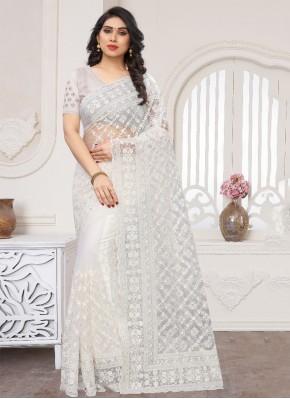 Net White Traditional Designer Saree