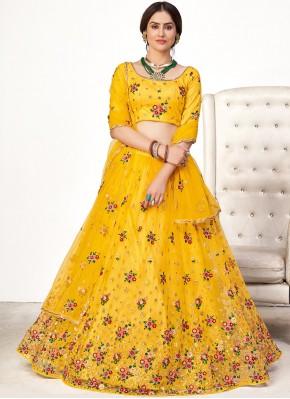 Net Yellow Resham Lehenga Choli