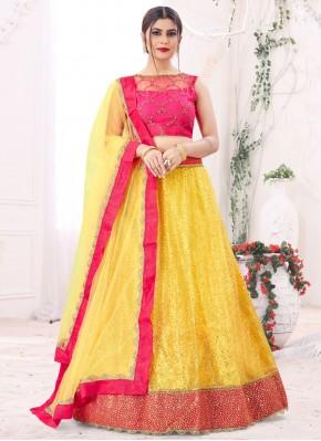 Net Yellow Sequins Lehenga Choli