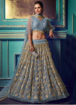 Net Zari Trendy Lehenga Choli in Grey