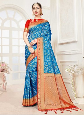 Nice Blue Festival Traditional Saree