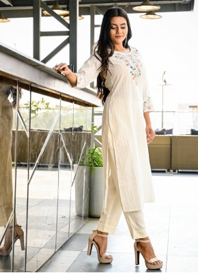 Nice Embroidered Cotton Party Wear Kurti