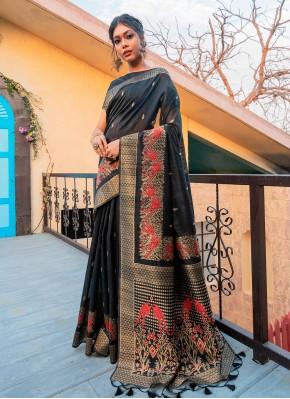 Nice Fancy Tussar Silk Black Traditional Saree