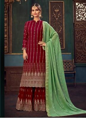 Nice Faux Georgette Embroidered Maroon Designer Pakistani Suit